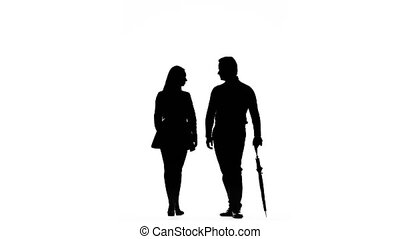 Guy and the girl are kissing under the umbrella. Silhouette. White background
