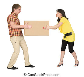 Guy and the girl divide big box