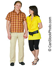 Guy and the girl on a white background