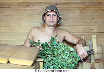 Guy  at sauna