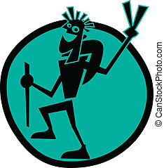 Cartoon guy backpacking or hiking up a trail and giving the peace sign with his fingers clip art in vector format.
