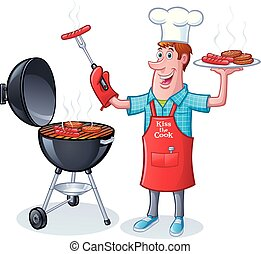 Guy BBQing Burgers Hot Dogs - Cartoon of a guy in chef's hat...