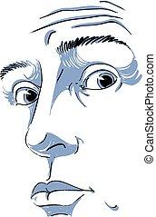 guy., caratteristiche, immagine, giovane, illustrazione, faccia, hand-drawn, vettore, nero, abbicare, monocromatico, bianco, sorpreso, tipo, man.