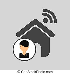 guy cartoon wifi home