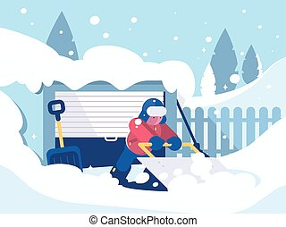 Guy cleans snow after snowfall near garage. Clean car passage. Vector illustration