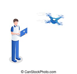 Guy controlling quadrocopter isometric vector illustration. Young man with laptop using unmanned copter cartoon character. Delivery service innovation, wireless technology, drone racing preparation