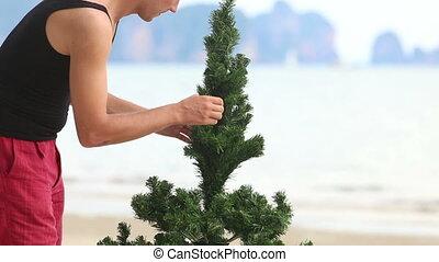 guy correct a Christmas tree on the beach