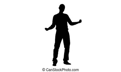 Guy dances energetic movements. Silhouette. White background...