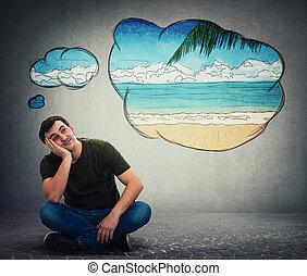 guy dreamer imagining a exotic seaside beach adventure