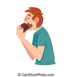 Guy Eating Chocolate with Face Dirty with Melt Chocolate, ...