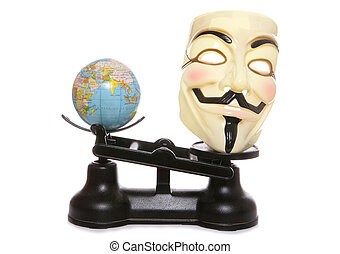 Guy fawkes mask on scales with a globe