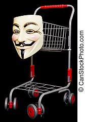 Guy fawkes mask with a shopping trolley