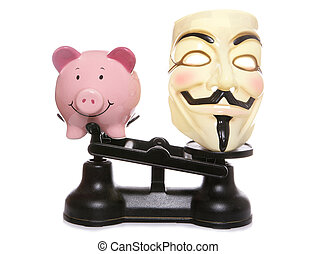Guy fawkes mask with piggy bank