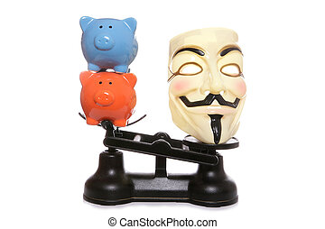 Guy fawkes mask with two piggy banks