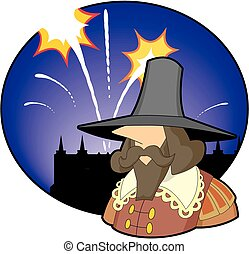Guy Fawkes with Fireworks - Cartoon illustration of Guy...