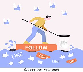 Guy floats on a raft of follow and collects likes. Cartoon icon.