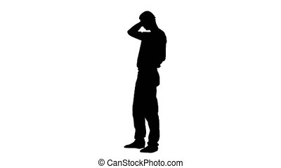 Guy gets an idea in his head. White background. Silhouette -...