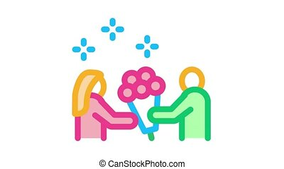 guy give flowers to girl Icon Animation. color guy give flowers to girl animated icon on white background
