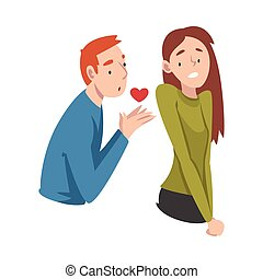 Guy gives his heart to a girl. Undivided love. Vector illustration.