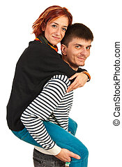Guy giving piggy back ride to woman