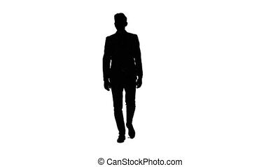 Guy goes to a business meeting, thinks about money and profits. White background. Silhouette