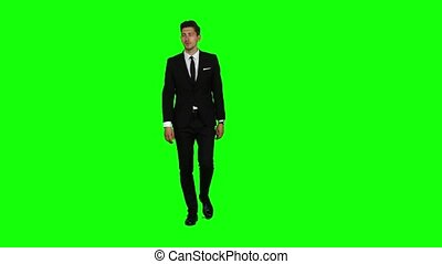 Guy goes to a business meeting, thinks about money and profits. Green screen