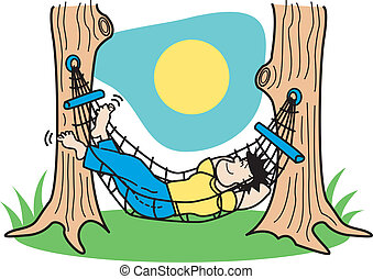 guy, hængekøje, kunst, hæfte, sov