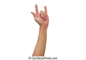 Guy hand  make I love you  on isolated white background
