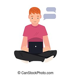 Guy hatting Via Internet Using Smartphone, Teenager Sitting on the Floor with Crossed Legs and Using Digital Gadget Vector Illustration