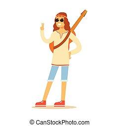 Guy Hippie Dressed In Classic Woodstock Sixties Hippy...