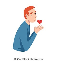Guy holds a heart in his hands. Vector illustration.