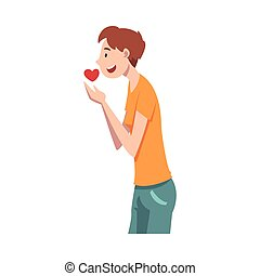 Guy hopes and holds a heart in his hands. Vector illustration.