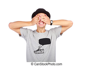 Guy in a hat with closed eyes