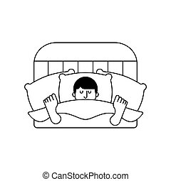 Guy in bed asleep isolated. Man sleeping. sleeper male. Vector illustration