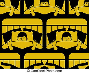 Guy in bed asleep pattern seamless. Man sleeping background. sleeper male ornament. Vector texture