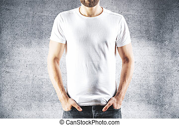 Guy in blank white t-shirt