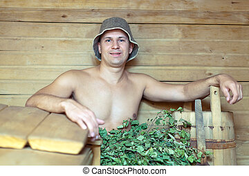 Guy in sauna