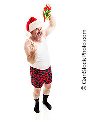 Guy in Underwear Under the Mistletoe
