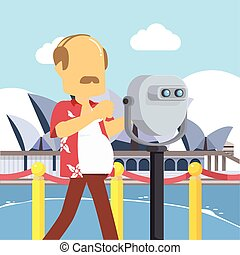guy infront opera house binocular