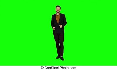 Guy is happy with his victories, he is happy. Green screen -...