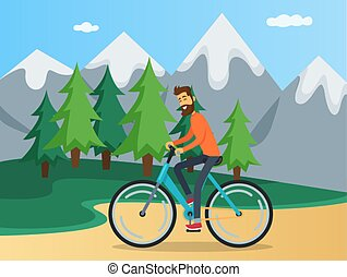 Guy is riding in mountains. Person spends time with bicycle on background of nature landscape