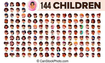 guy., jogo, pessoas, arab., macho, female., asiático, crianças, ethnic., vector., multinacional, apartamento, ilustração, portrait., usuário, criança, multi, europeu, rosto, menina, africano, avatar, icon., racial., emotions.