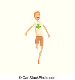 Guy jumping with joyful face expression. Man in brown shorts and t-shirt with four-leaf clover print. Cartoon male character with good luck. Flat vector illustration