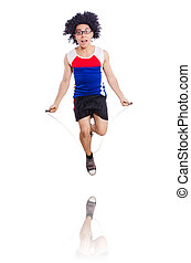 Guy jumps with skipping rope isolated on white