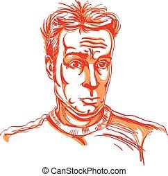 guy., kleurrijke, beeld, jonge, illustratie, hand-drawn, vector, geshockeerde, verwonderd, man., artistiek