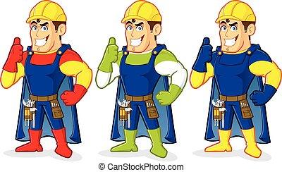 guy, konstruktion, superhero