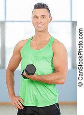 guy., mã¤nnerhemd, junger, gewichte, fitness, grün, hübsch, heben, mann