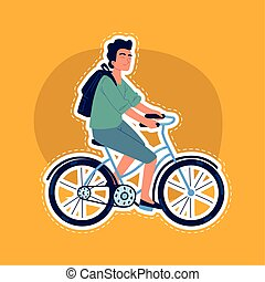 guy on bicycle sticker