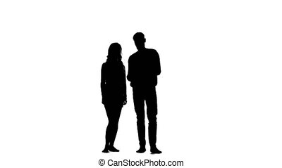 Guy opens the umbrella and talks to the girl. White background. Silhouette