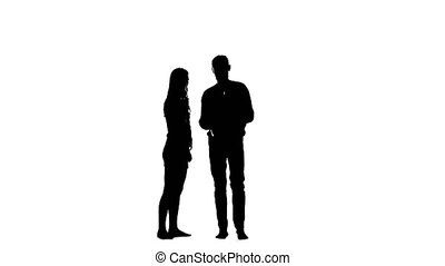 Guy opens the umbrella and they kiss the girl. White background. Silhouette